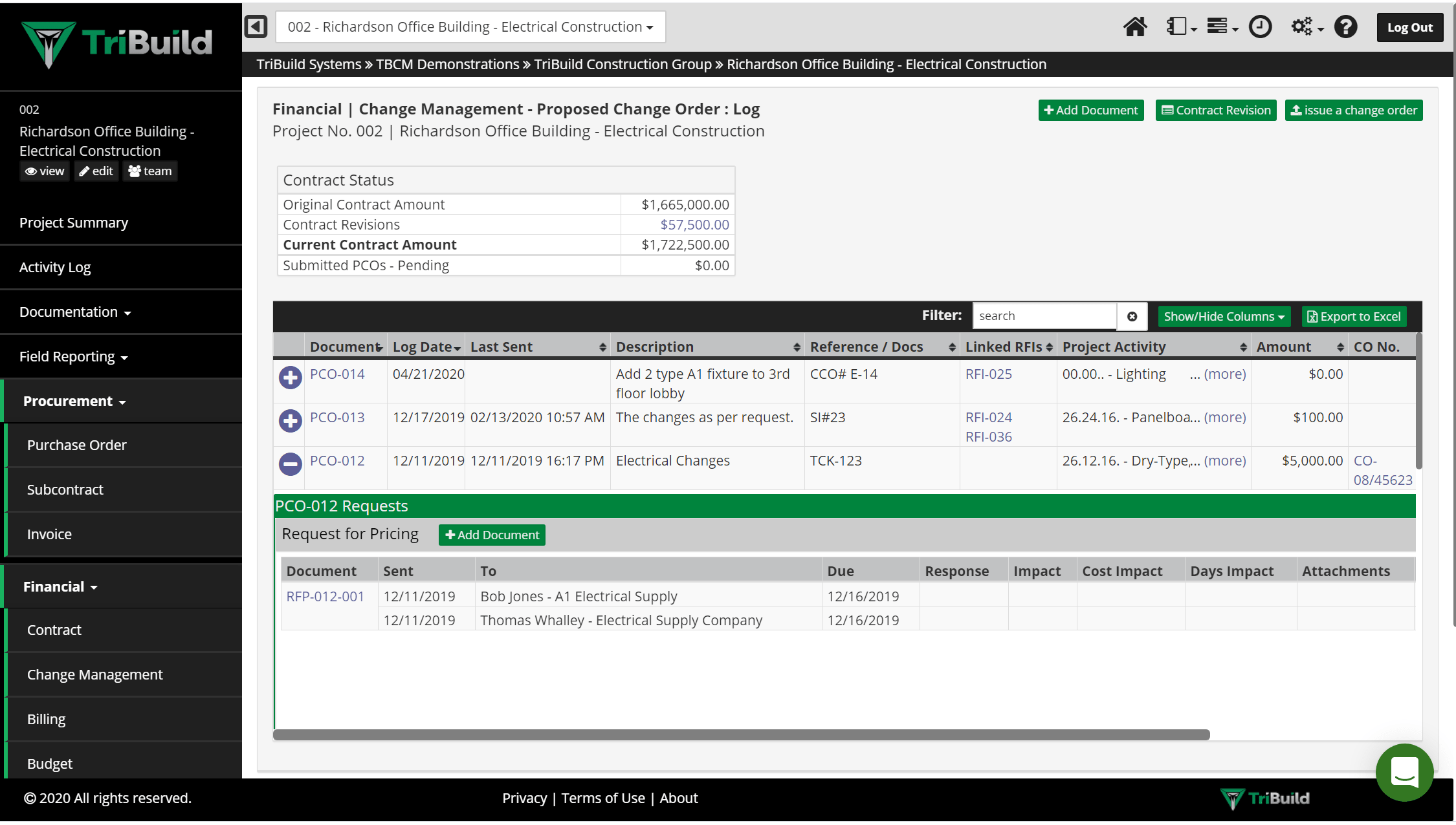TriBuild Purchase Order Management screen