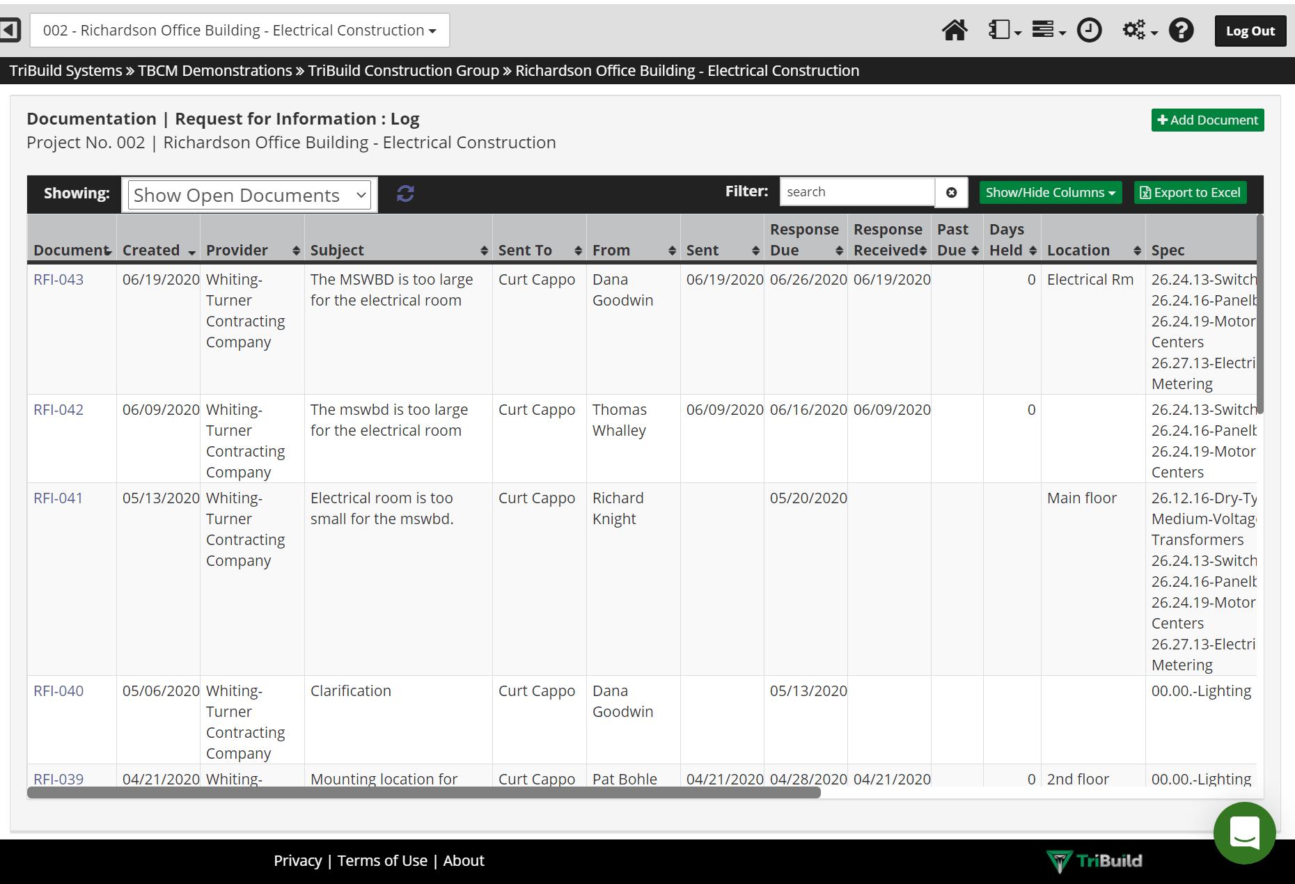 TriBuild RFI Software